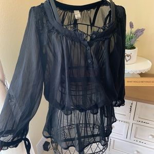 Small Black Old Navy Sheer Blouse